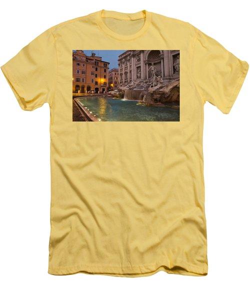 Rome's Fabulous Fountains - Trevi Fountain At Dawn Men's T-Shirt (Slim Fit) by Georgia Mizuleva