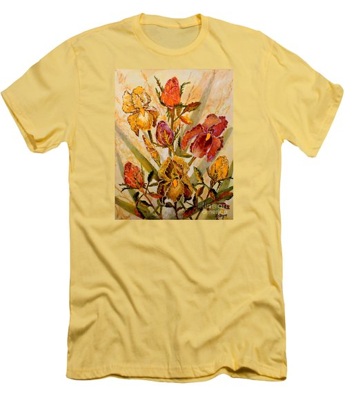 Roses And Irises Men's T-Shirt (Slim Fit) by Lou Ann Bagnall