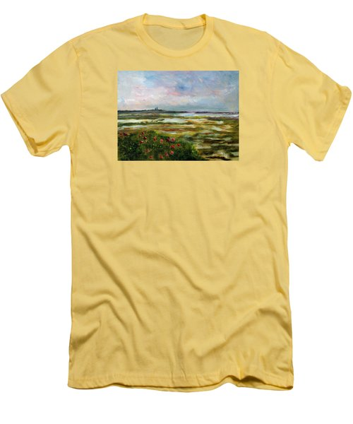 Men's T-Shirt (Slim Fit) featuring the painting Roses Over The Marsh by Michael Helfen