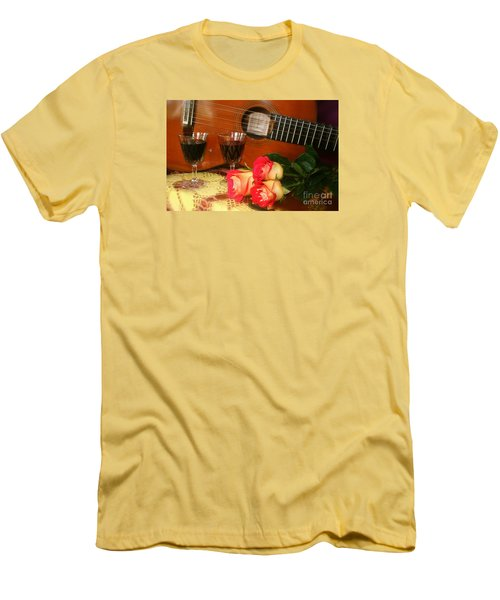 Men's T-Shirt (Slim Fit) featuring the photograph Guitar 'n Roses by The Art of Alice Terrill