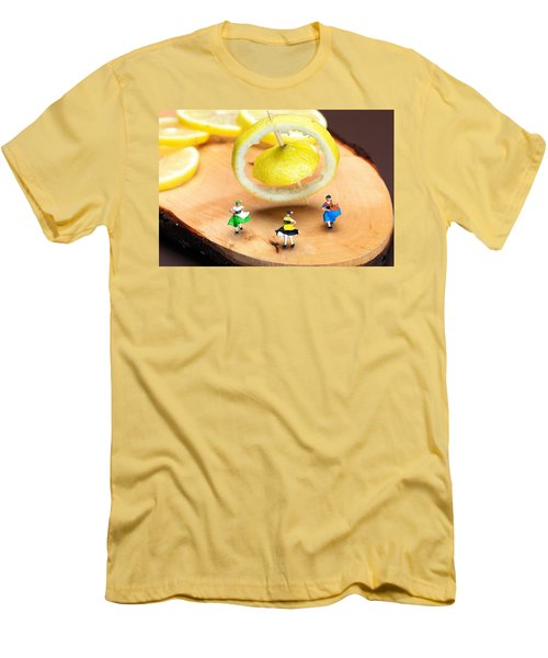 Men's T-Shirt (Slim Fit) featuring the photograph Rotating Dancers And Lemon Gyroscope Food Physics by Paul Ge