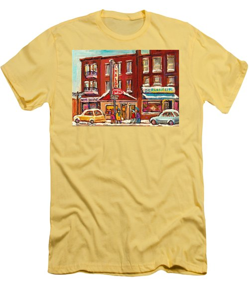 Rotisserie Le Chalet Bar B Q Sherbrooke West Montreal Winter City Scene Men's T-Shirt (Slim Fit) by Carole Spandau