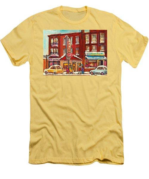 Rotisserie Le Chalet Bar B Q Sherbrooke West Montreal Winter City Scene Men's T-Shirt (Athletic Fit)