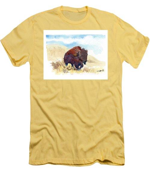 Running Buffalo Men's T-Shirt (Slim Fit) by C Sitton