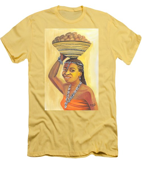 Men's T-Shirt (Slim Fit) featuring the painting Rural Woman From Cameroon by Emmanuel Baliyanga