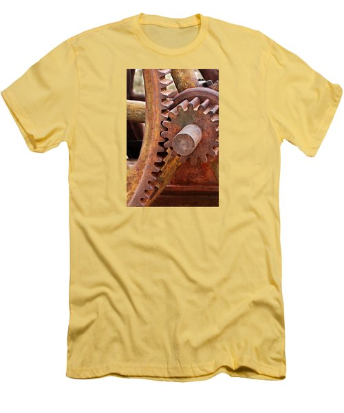 Men's T-Shirt (Slim Fit) featuring the photograph Rusty Metal Gears by Phyllis Denton