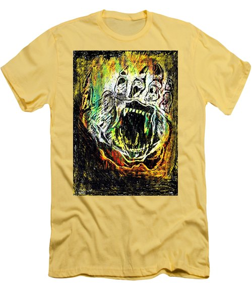 Men's T-Shirt (Slim Fit) featuring the painting Sacred Paw Impression by Ayasha Loya