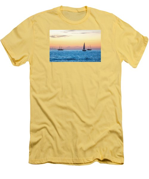 Sailboats At Sunset Off Key West Florida Men's T-Shirt (Slim Fit) by Photographic Arts And Design Studio