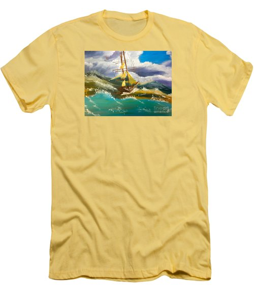 Sailing Ship In A Storm Men's T-Shirt (Athletic Fit)