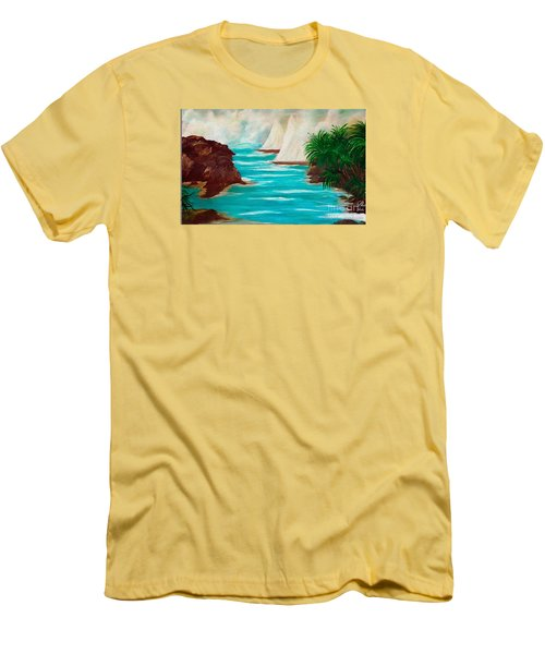 Men's T-Shirt (Slim Fit) featuring the painting Sailing The Coast Of California by Sherri  Of Palm Springs