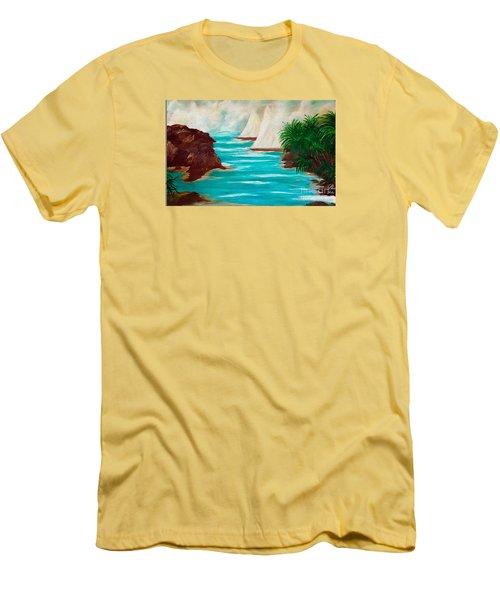 Sailing The Coast Of California Men's T-Shirt (Slim Fit) by Sherri's Of Palm Springs