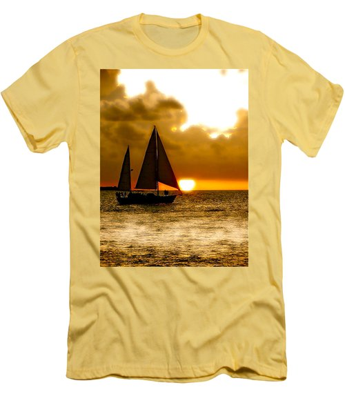 Sailing The Keys Men's T-Shirt (Slim Fit) by Iconic Images Art Gallery David Pucciarelli