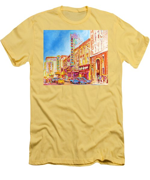 Saint Catherine Street Montreal Men's T-Shirt (Slim Fit) by Carole Spandau