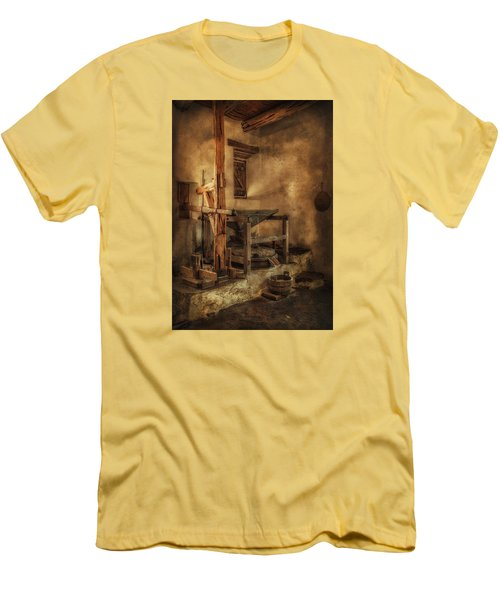 Men's T-Shirt (Slim Fit) featuring the photograph San Jose Mission Mill by Priscilla Burgers