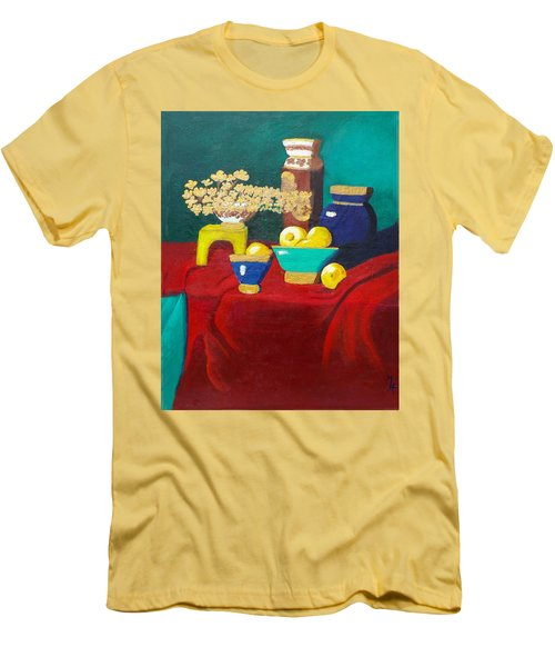 Men's T-Shirt (Slim Fit) featuring the painting Seafoam Green On Red Velvet by Margaret Harmon