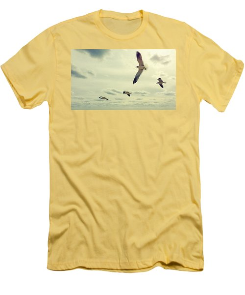 Seagulls In Flight Men's T-Shirt (Athletic Fit)
