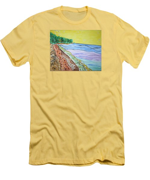 Men's T-Shirt (Slim Fit) featuring the painting Seashore Bright Sky by Stormm Bradshaw
