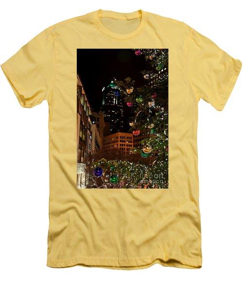 Seattle Downtown Christmas Time Art Prints Men's T-Shirt (Slim Fit) by Valerie Garner