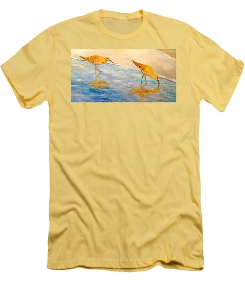 Men's T-Shirt (Slim Fit) featuring the painting Shore Patrol by Alan Lakin