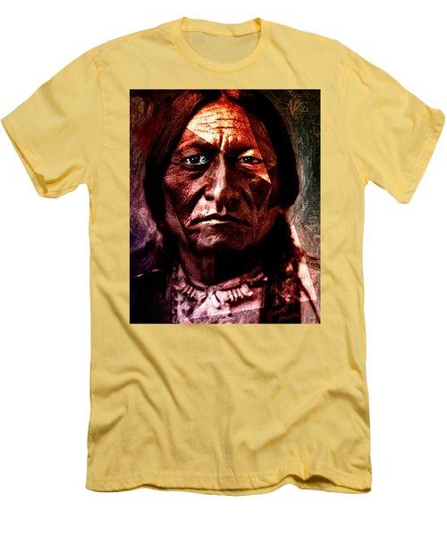 Sitting Bull - Warrior - Medicine Man Men's T-Shirt (Slim Fit) by Hartmut Jager