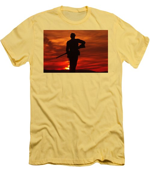 Men's T-Shirt (Slim Fit) featuring the photograph Sky Fire - 111th New York Infantry Hancock Avenue Brian Farm Cemetery Ridge Sunset Winter Gettysburg by Michael Mazaika