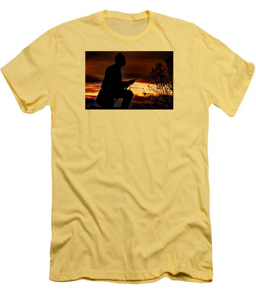 Men's T-Shirt (Slim Fit) featuring the photograph Sky Fire - 1st Pa Cavalry Regiment-a1 Cemetery Ridge Near Copse Of Trees Dawn Autumn Gettysburg by Michael Mazaika
