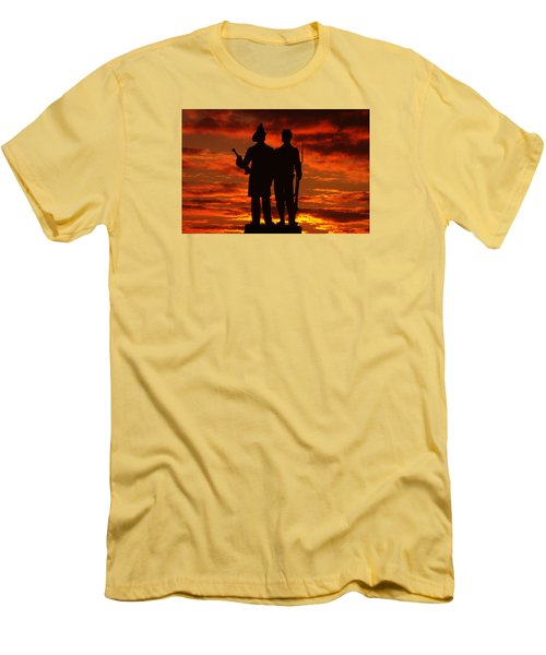 Men's T-Shirt (Slim Fit) featuring the photograph Sky Fire - 73rd Ny Infantry Fourth Excelsior Second Fire Zouaves-a1 Sunrise Autumn Gettysburg by Michael Mazaika