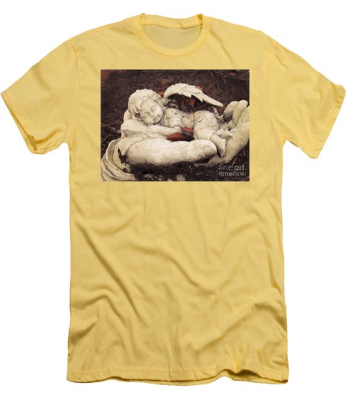 Men's T-Shirt (Slim Fit) featuring the photograph Baby Angel Sleeping In Gods Hands by Ella Kaye Dickey