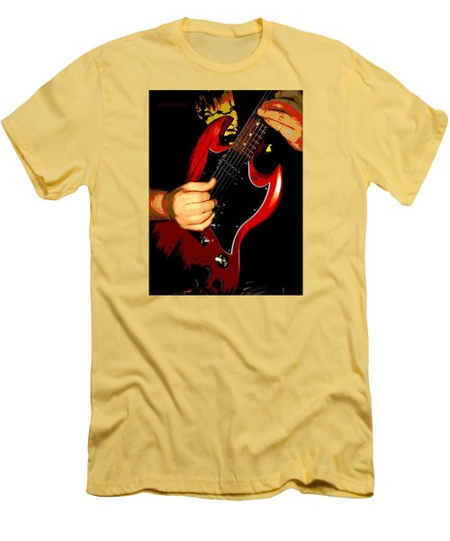Red Gibson Guitar Men's T-Shirt (Slim Fit) by Chris Berry