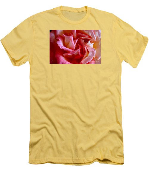 Men's T-Shirt (Slim Fit) featuring the photograph Soft Pink Petals Of A Rose by Janice Rae Pariza
