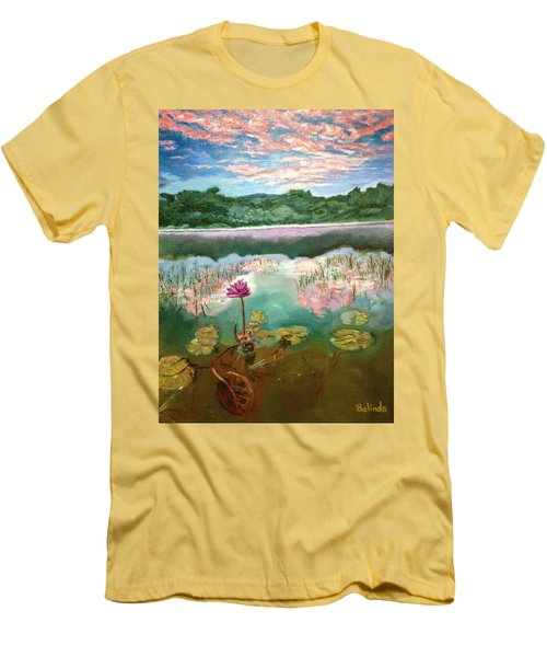 Men's T-Shirt (Slim Fit) featuring the painting Solitary Bloom by Belinda Low