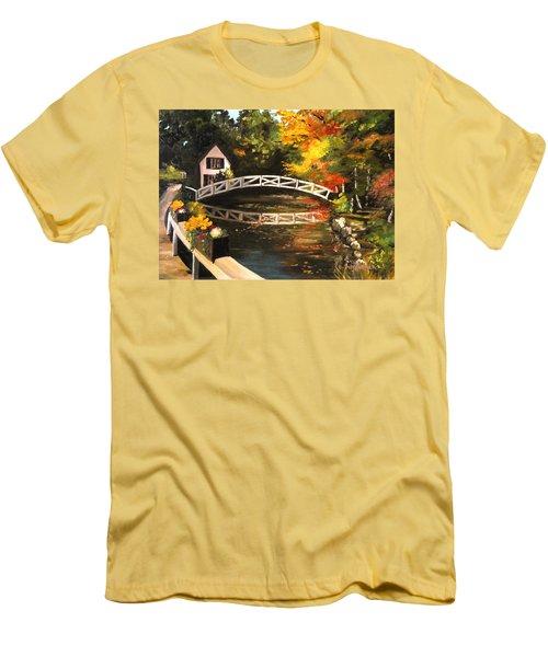 Somesville Maine Footbridge Men's T-Shirt (Slim Fit) by Eileen Patten Oliver