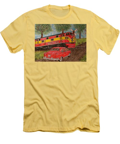 Men's T-Shirt (Slim Fit) featuring the painting Southern Pacific Train 1951 Kaiser Frazer Car Rr Crossing by Kathy Marrs Chandler