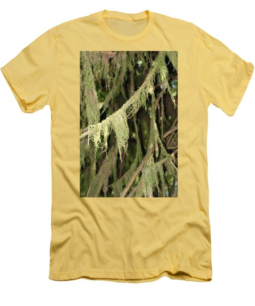 Spanish Moss In Olympic National Park Men's T-Shirt (Slim Fit) by Connie Fox