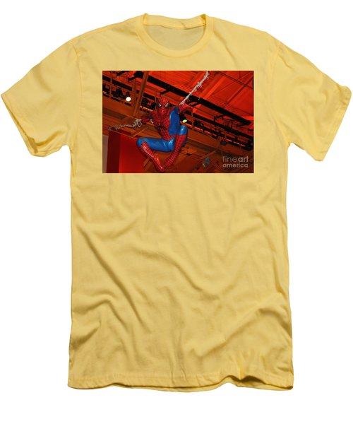 Spiderman Swinging Through The Air Men's T-Shirt (Slim Fit) by John Telfer