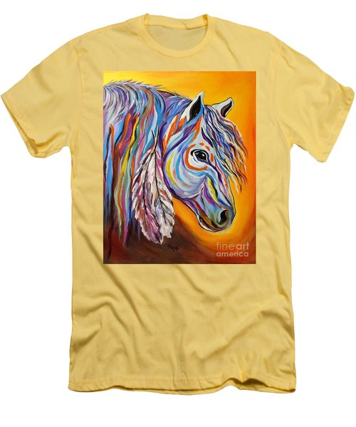 Men's T-Shirt (Slim Fit) featuring the painting 'spirit' War Horse by Janice Rae Pariza