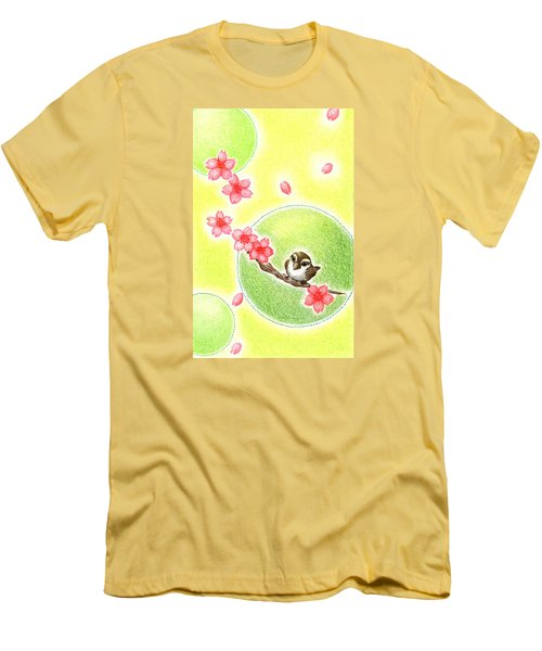 Men's T-Shirt (Slim Fit) featuring the drawing Spring by Keiko Katsuta