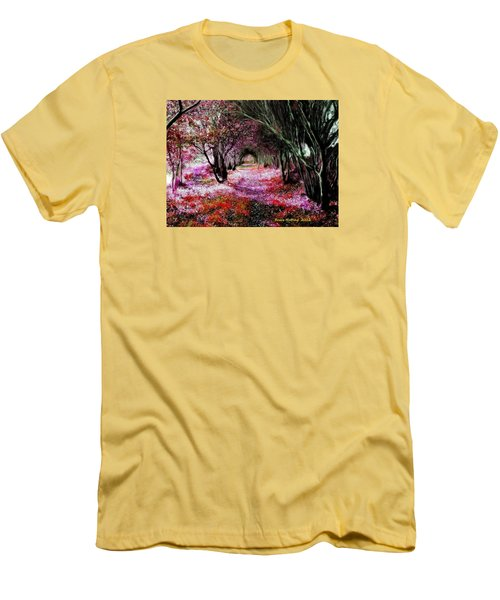 Men's T-Shirt (Slim Fit) featuring the painting Spring Walk In The Park by Bruce Nutting