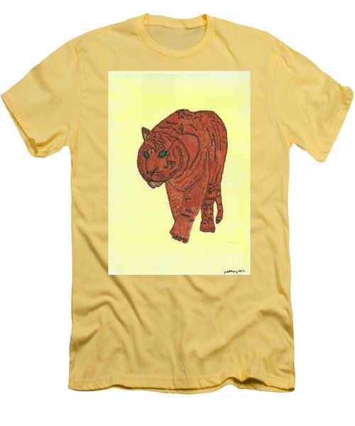 Men's T-Shirt (Slim Fit) featuring the painting Stalking Tiger by Tracey Williams
