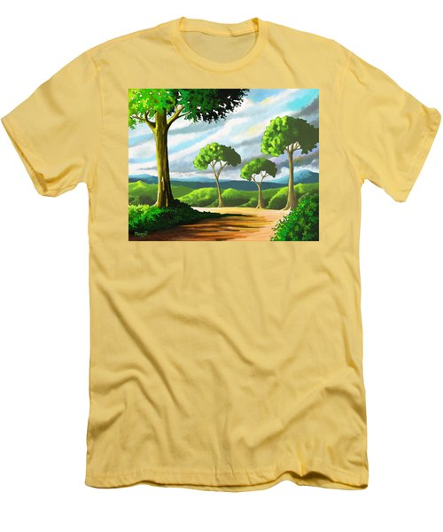 Men's T-Shirt (Slim Fit) featuring the painting Standing Tall by Anthony Mwangi