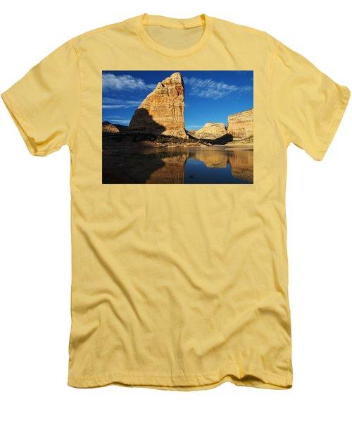 Steamboat Rock In Dinosaur National Monument Men's T-Shirt (Slim Fit) by Nadja Rider