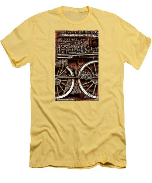 Steampunk- Wheels Locomotive Men's T-Shirt (Athletic Fit)