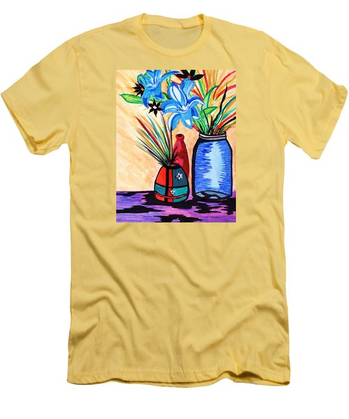 Still Life Flowers Men's T-Shirt (Slim Fit) by Connie Valasco