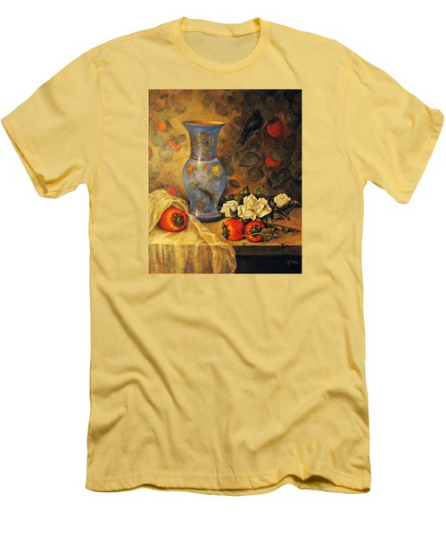 Men's T-Shirt (Slim Fit) featuring the painting Still Life Of Persimmons  by Donna Tucker