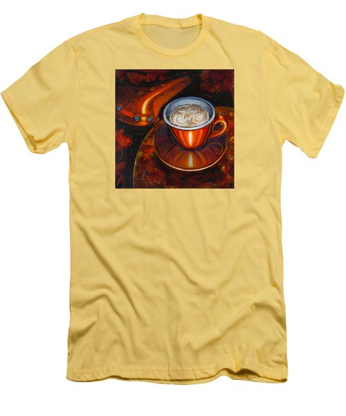 Men's T-Shirt (Slim Fit) featuring the painting Still Life With Bicycle Saddle by Mark Howard Jones