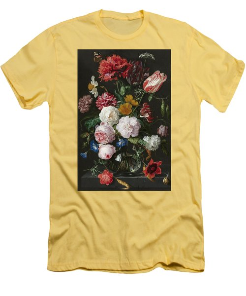 Still Life With Fowers In Glass Vase Men's T-Shirt (Athletic Fit)