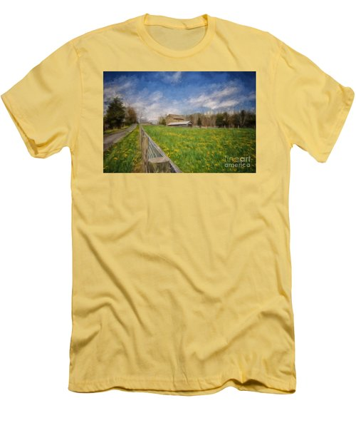 Stone Barn On A Spring Morning Men's T-Shirt (Slim Fit) by Lois Bryan