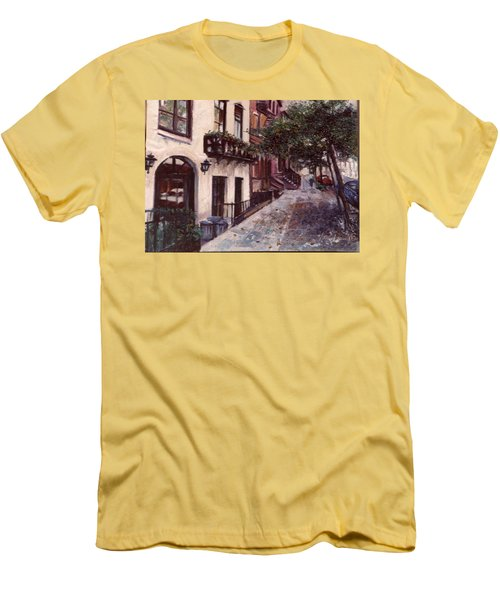 Men's T-Shirt (Slim Fit) featuring the painting street in the Village NYC by Walter Casaravilla