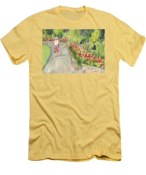 Men's T-Shirt (Slim Fit) featuring the painting Strolling Butchart Gardens by Vicki  Housel