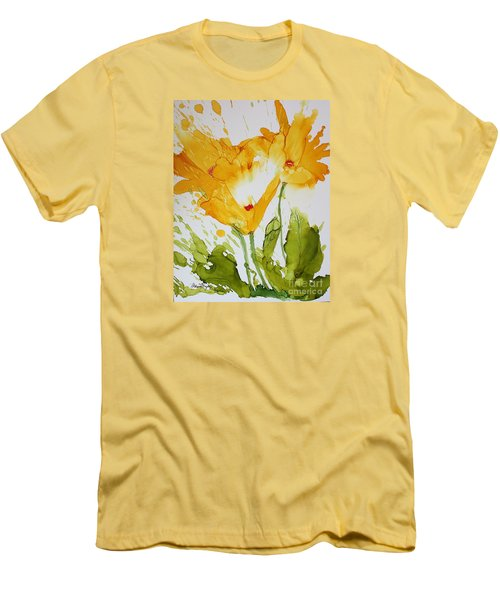 Sun Splashed Poppies Men's T-Shirt (Athletic Fit)